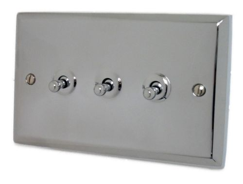 G&H SC283 Spectrum Plate Polished Chrome 3 Gang 1 or 2 Way Toggle Light Switch